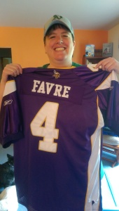 One of my top 5 favorite football memories was buying this jersey. Hi. I'm a Vikings fan.